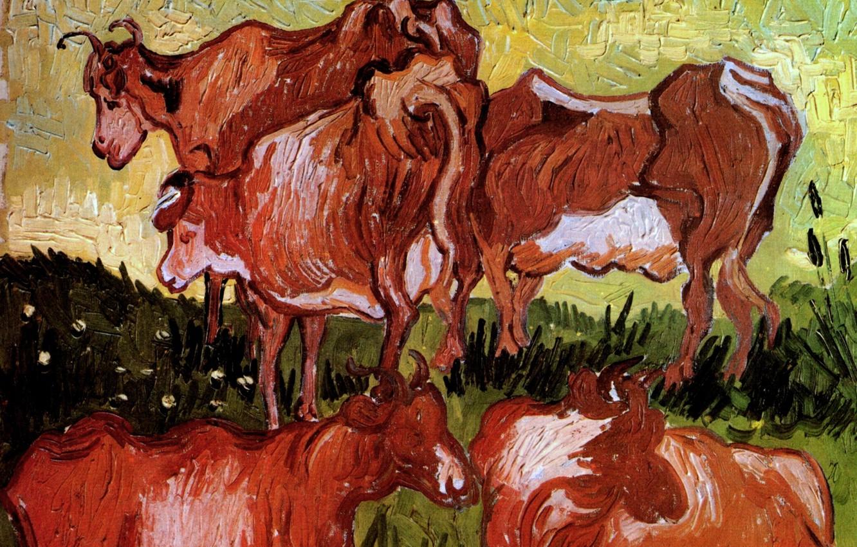 Photo wallpaper cows, Vincent van Gogh, Auvers-sur-Oise, Cows after Jordaens