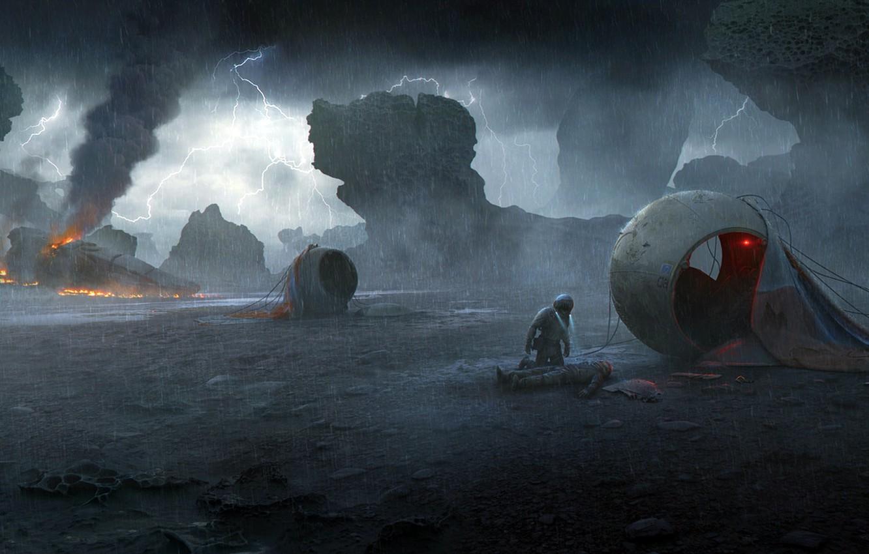 Photo wallpaper Lightning, Rain, landing, Vladimir Manyukhin, On a dark planet