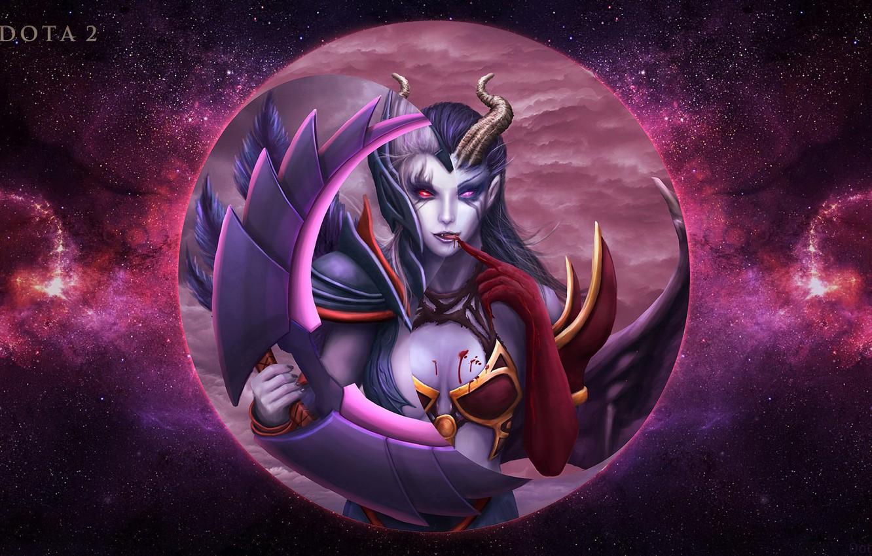 Photo wallpaper moon, Dota 2, Akasha, queen of pain, vengeful spirit, MOBA games