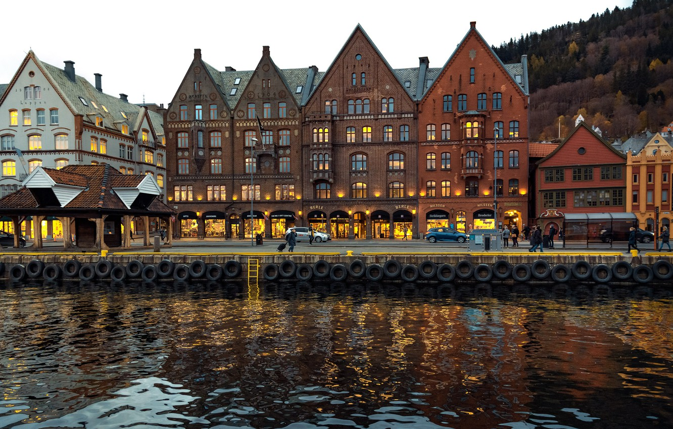 Photo wallpaper photo, Home, The city, River, Norway, Bergen