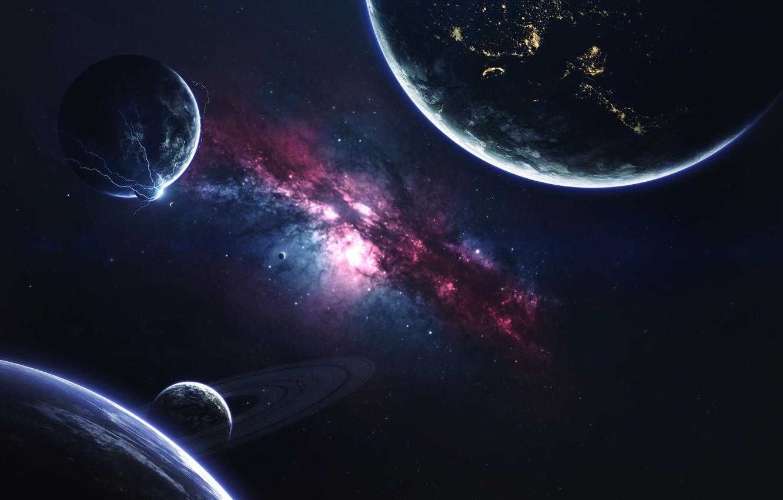 Photo wallpaper Galaxy, Stars, Planet, Space, Nebula, Star, Planet, Zipper, Planets, Ring, Star, Art, Stars, Space, Art, ...