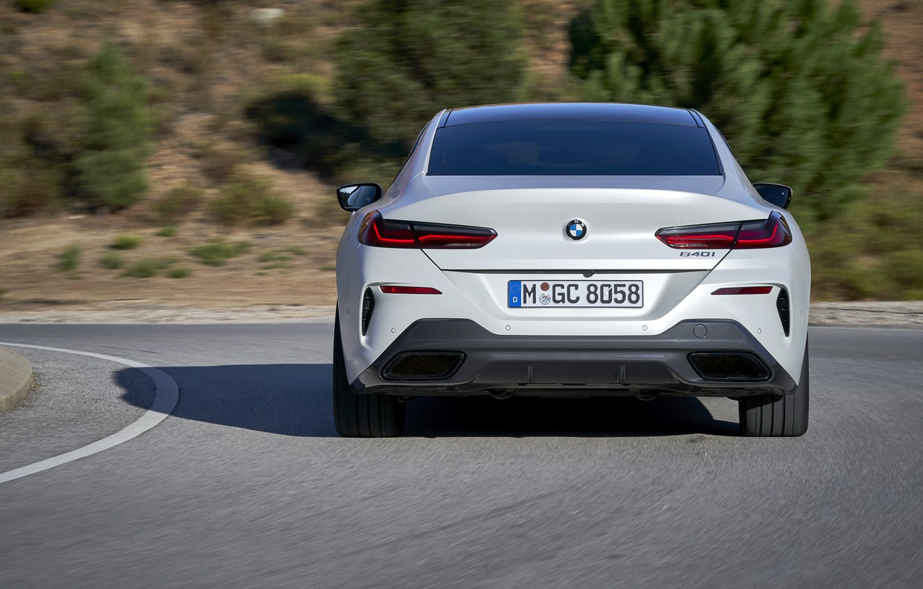 Photo wallpaper white, coupe, BMW, Gran Coupe, feed, 840i, 8-Series, 2019, the four-door coupe, Eight, G16