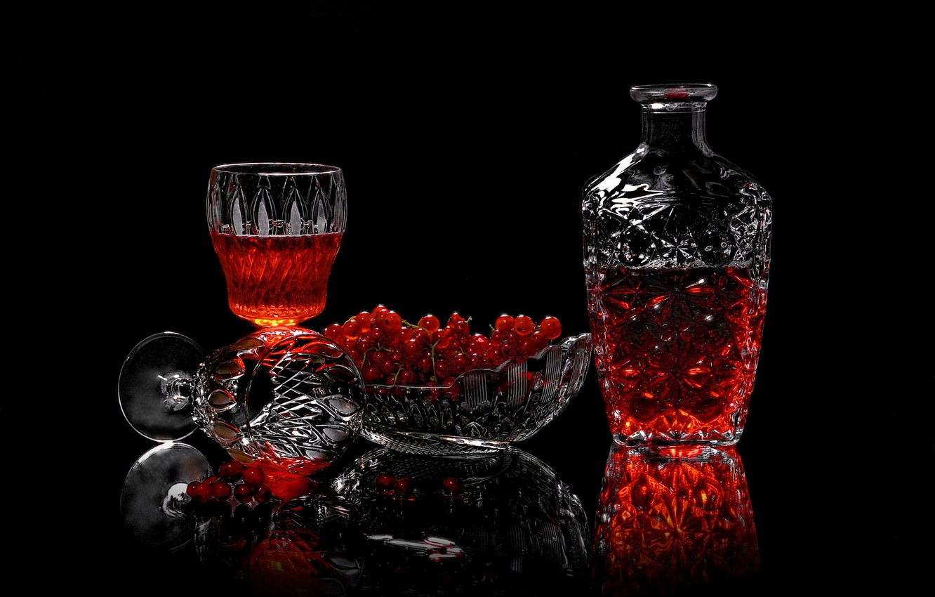 Photo wallpaper berries, glasses, drink, currants, vase, decanter, Sergey Pounder