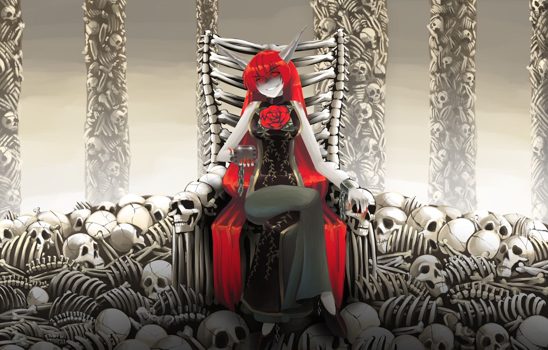 Photo wallpaper girl, the demon, bones, skull, Touhou, Touhou, Touhou, Kasen Ibaraki