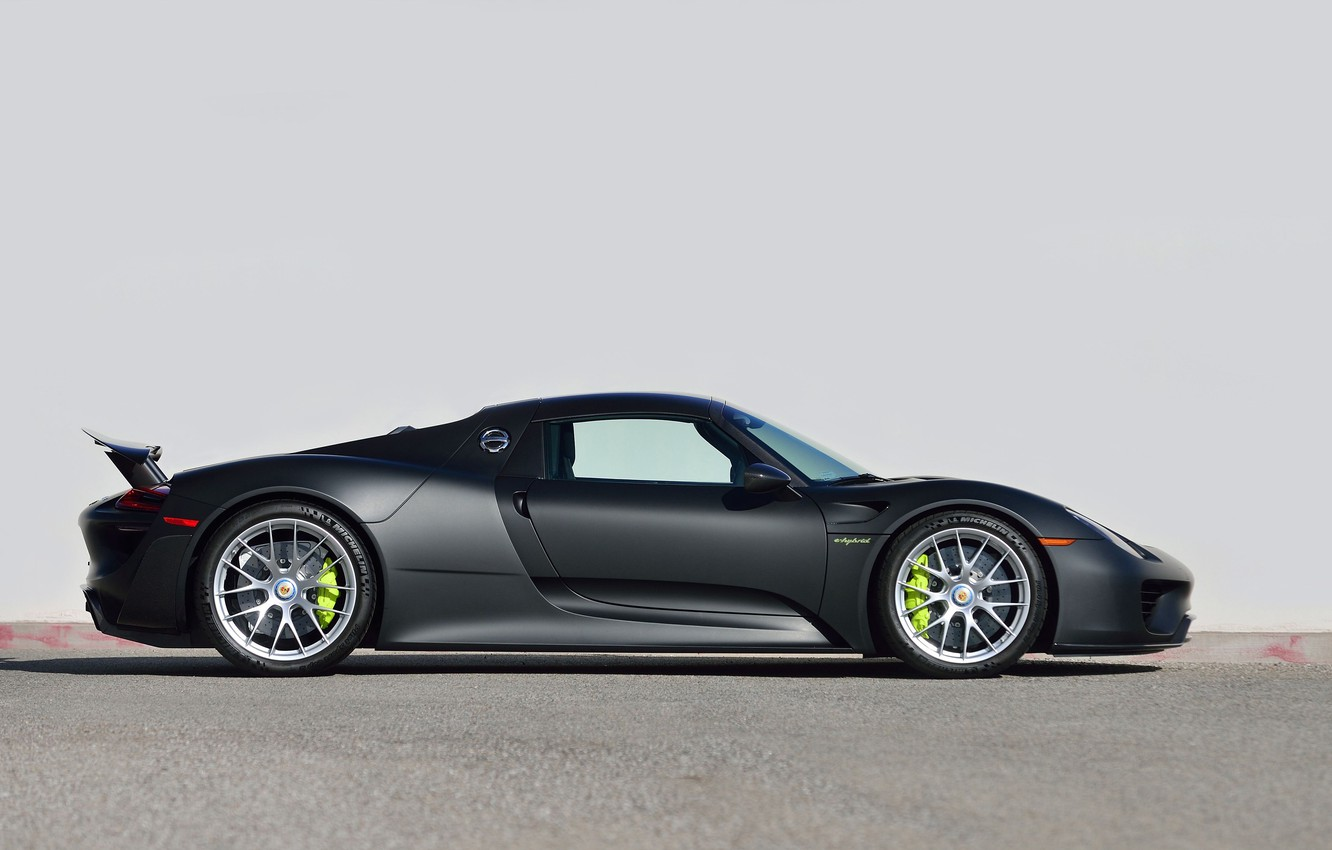 Photo wallpaper Black, Supercar, 2015, Side View, PORSCHE 918, SPYDER, WEISSACH
