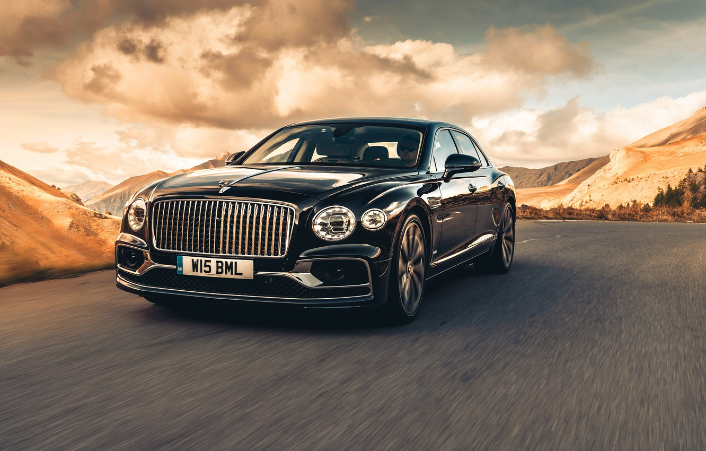 Photo wallpaper Bentley, Black, Sedan, Front, Flying Spur, 2020, Dark Sapphire