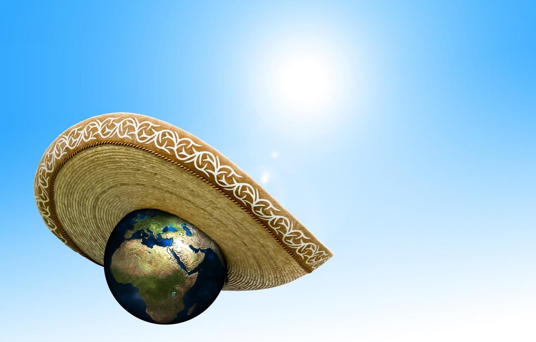 Photo wallpaper the sun, heat, planet, hat, climate change, warming