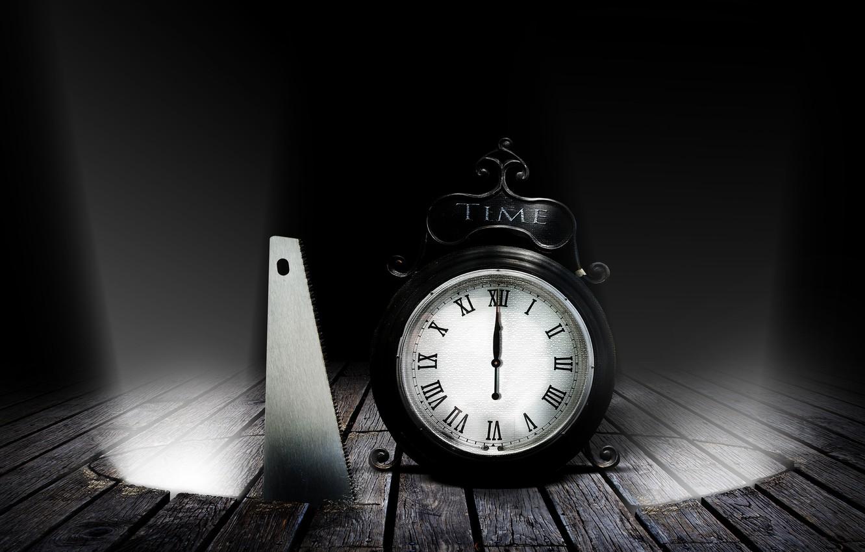 Photo wallpaper darkness, Board, watch, alarm clock, floor, saw, rays of light, midnight, hacksaw