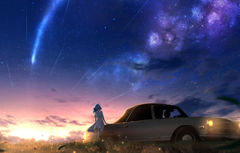 Photo wallpaper auto, the sky, girl, sunset