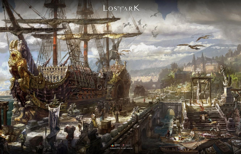 Photo wallpaper city, fantasy, game, sky, sea, clouds, people, ship, digital art, boats, pier, artwork, harbor, goods, …