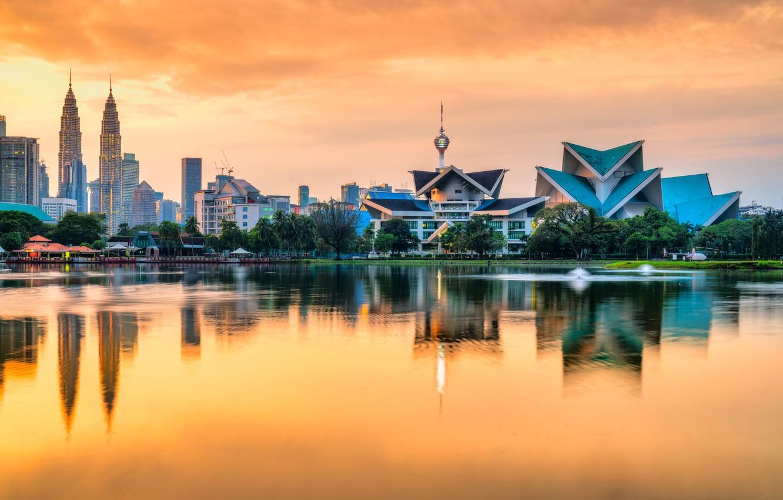 Photo wallpaper water, sunset, skyscrapers, Malaysia, Kuala Lumpur, Titiwangsa, Park Lake Titiwangsa, lake gardens