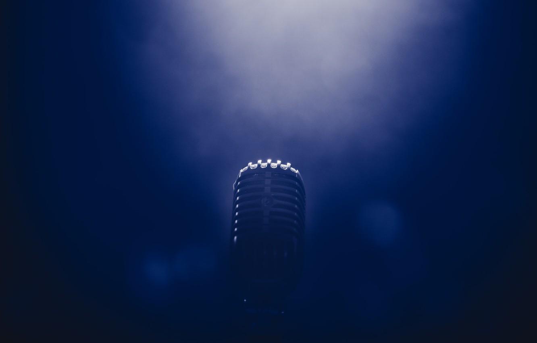 Photo wallpaper light, smoke, microphone, Bruno Cervera