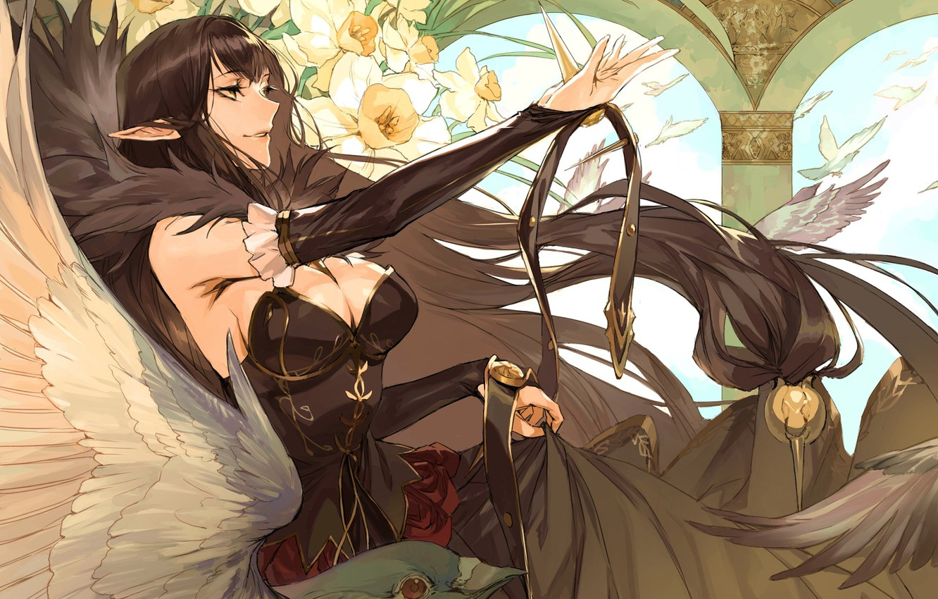 Photo wallpaper girl, flowers, witch, pizza, Fate - Apocrypha, Fate Apocrypha