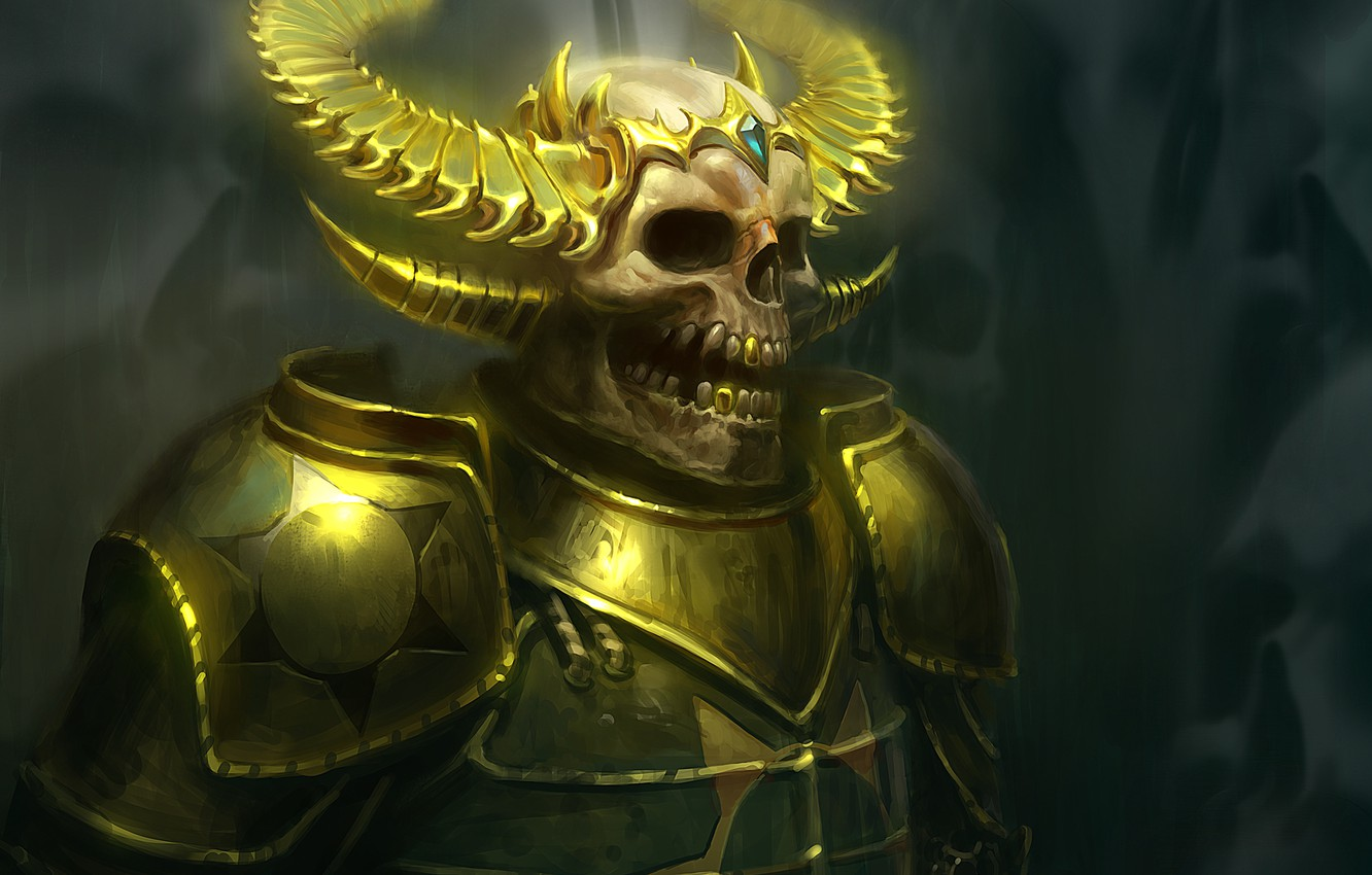 Photo wallpaper armor, fantasy, art, skeleton, horns