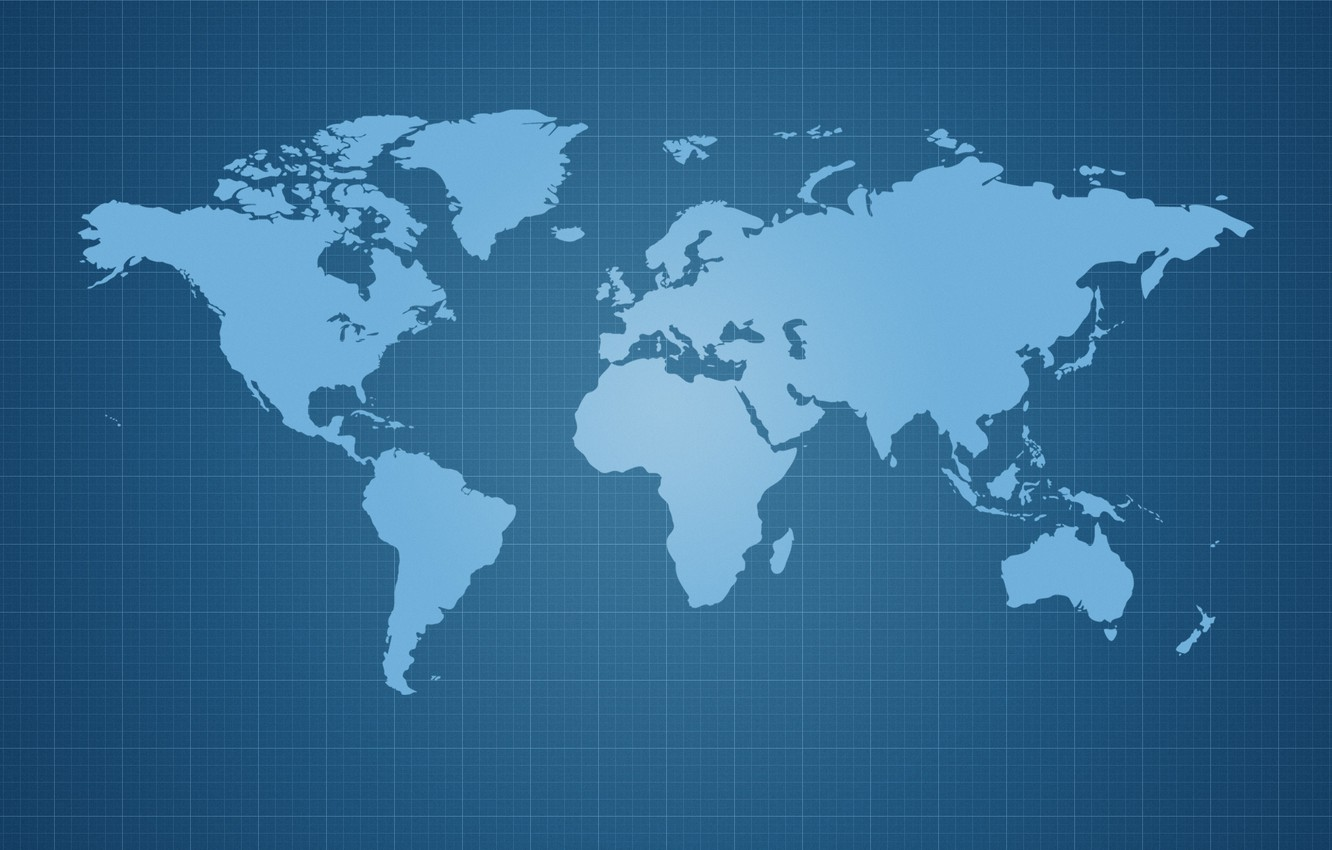 Photo wallpaper earth, the world, planet, cells, continents, world map, blue background, continents