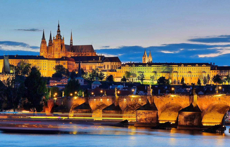 Photo wallpaper lights, the evening, Prague, Czech Republic