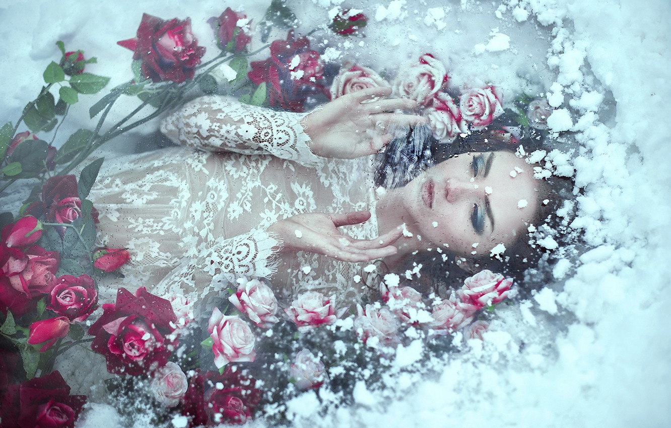 Photo wallpaper cold, ice, winter, girl, snow, flowers, face, pose, white, roses, ice, hands, dress, photographer, lies, …