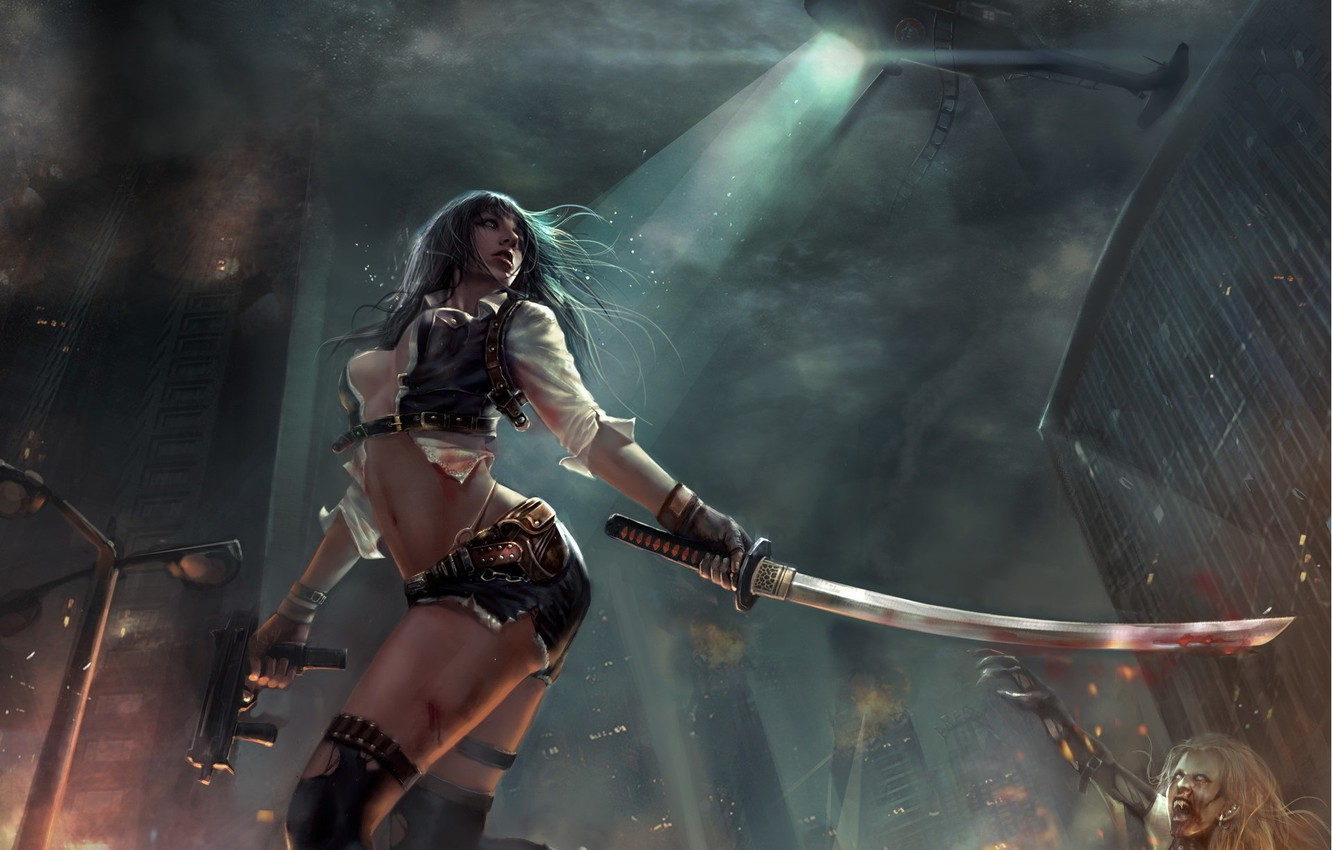 Photo wallpaper girl, night, pose, weapons, smoke, art, zombies, helicopter