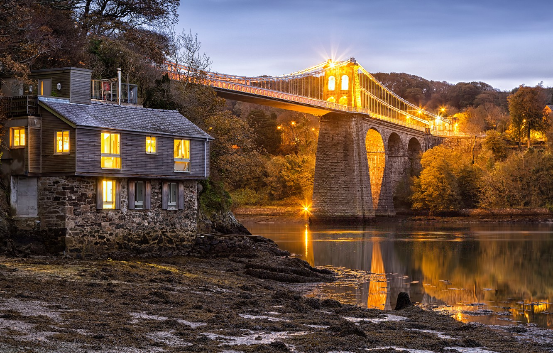Photo wallpaper trees, bridge, Strait, house, England, England, Wales, Wales, Menai Bridge, The Menai Strait, Menai Strait