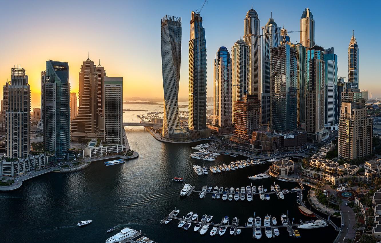 Photo wallpaper building, yachts, Bay, Dubai, boats, Dubai, skyscrapers, harbour, UAE, UAE, Dubai Marina, Dubai Marina