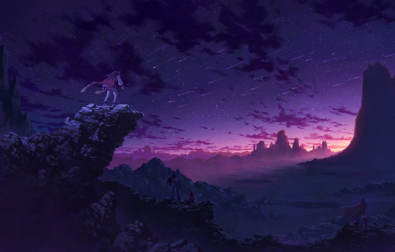 Photo wallpaper sunset, mountains, rocks, anime, art, four, Starfall