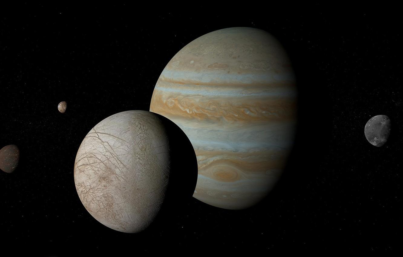 Photo wallpaper planet, Europe, Jupiter, satellites, Ganymede, Callisto