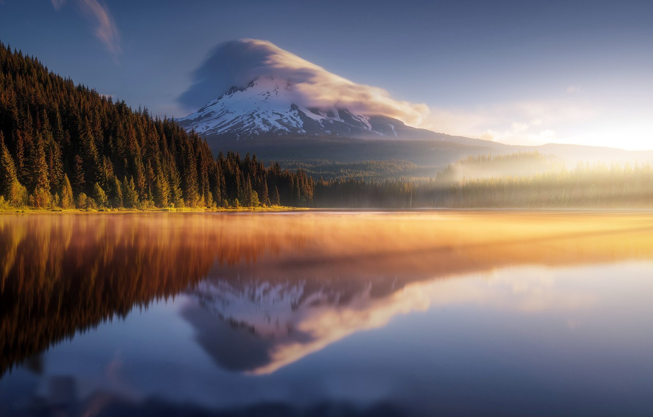 Photo wallpaper sea, mountain, morning