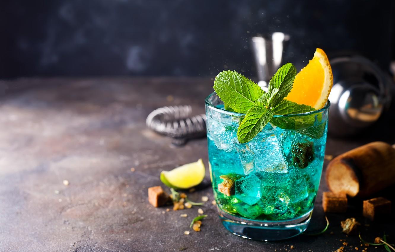 Photo wallpaper ice, orange, Cocktail, lime, mint