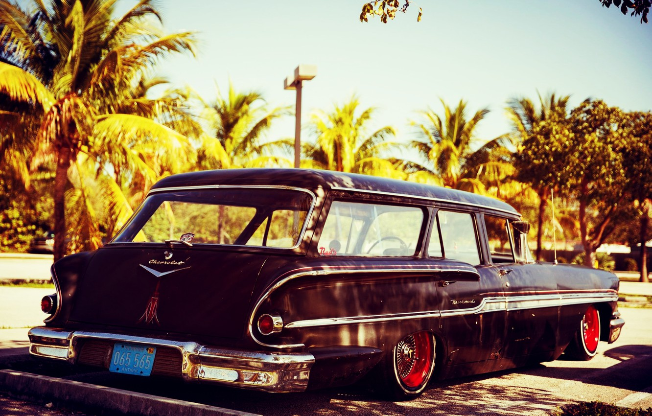 Photo wallpaper Chevy, Lowrider, Low, Nomad, 1958 Year, Black primer