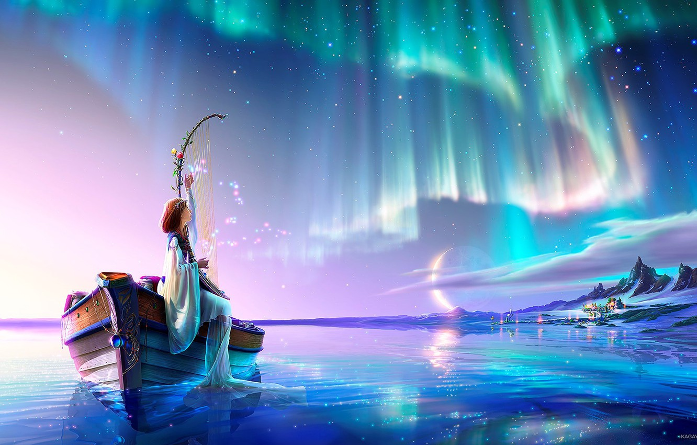 Photo wallpaper moon, fantasy, magic, sky, mountains, lake, snow, stars, village, digital art, artwork, boat, fantasy art, ...