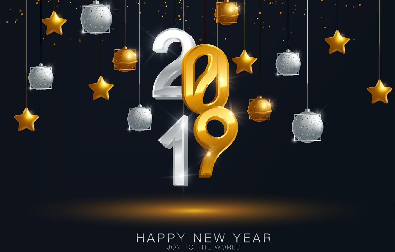Photo wallpaper gold, balls, New Year, figures, golden, black background, black, balls, background, New Year, Happy, sparkle, …