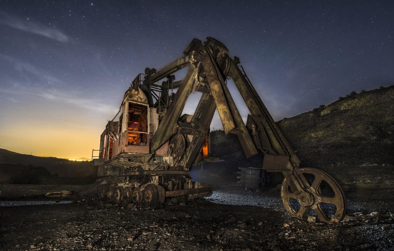 Photo wallpaper night, loader, quarry