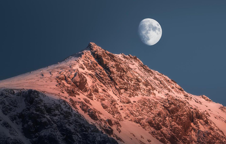 Photo wallpaper winter, the sky, snow, nature, rock, the moon, mountain, Norway, The Lofoten Islands