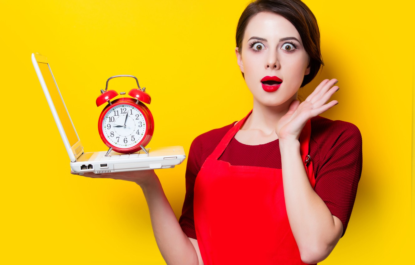 Photo wallpaper eyes, look, girl, face, pose, yellow, background, watch, surprise, hands, makeup, alarm clock, hairstyle, laptop, …