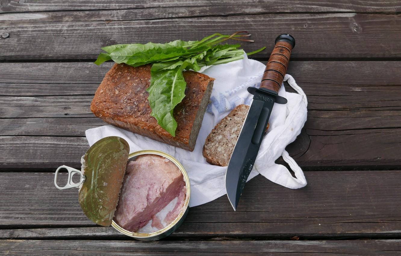 Photo wallpaper Breakfast, bread, knife, canned