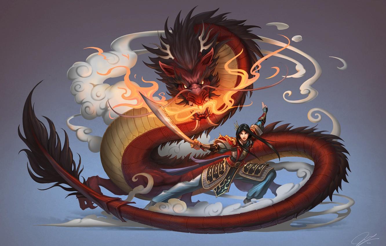 Photo wallpaper Girl, Dragon, Style, Fantasy, Art, Asian, Fiction, Female, Mulan, Mulan, Chinese, Chinese Dragon, by Jue …