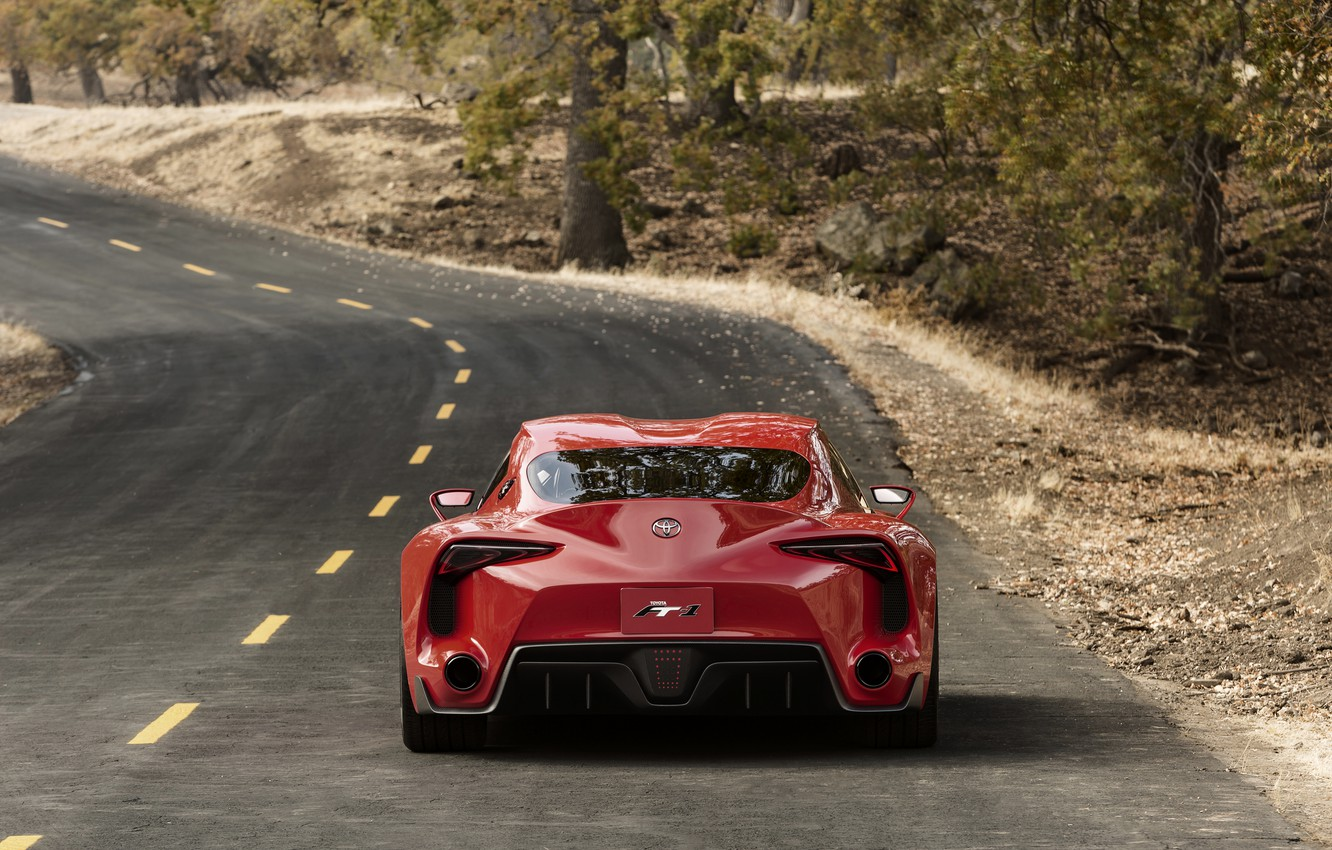 Photo wallpaper road, red, coupe, Toyota, feed, 2014, FT-1 Concept