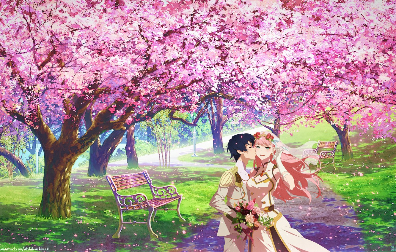 Photo wallpaper kiss, bouquet, track, date, benches, in the Park, Hiro, flowering in the spring, the guy …