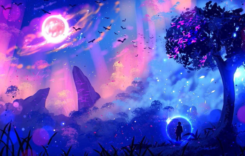 Photo wallpaper lights, lights, tree, rocks, glow, other worlds, traveler, glow, rocks, tree, a flock of birds, …