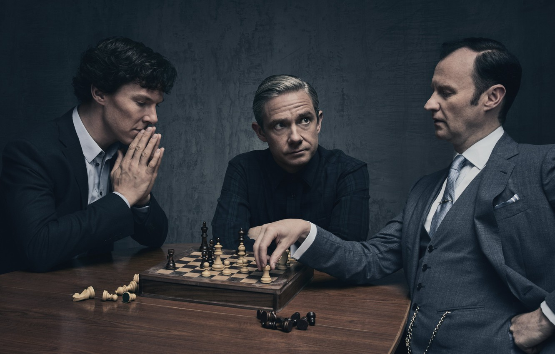 Photo wallpaper background, the game, chess, Martin Freeman, Benedict Cumberbatch, Benedict Cumberbatch, Sherlock, Mark Gatiss, Mycroft Holmes, …