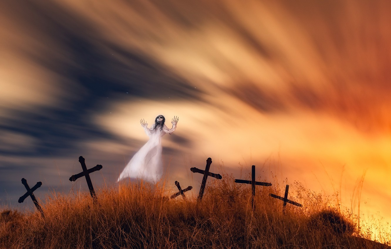 Photo wallpaper night, cemetery, Ghost
