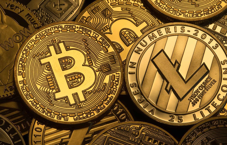 Photo wallpaper logo, coins, coins, bitcoin, bitcoin, litecoin, litecoin