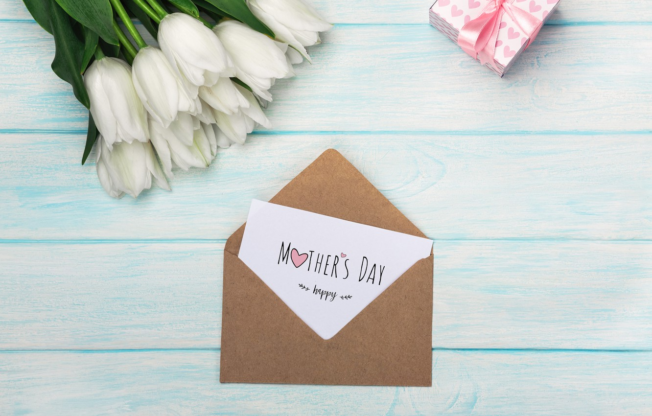 Photo wallpaper flowers, gift, bouquet, tulips, the envelope, congratulations, Mother's day