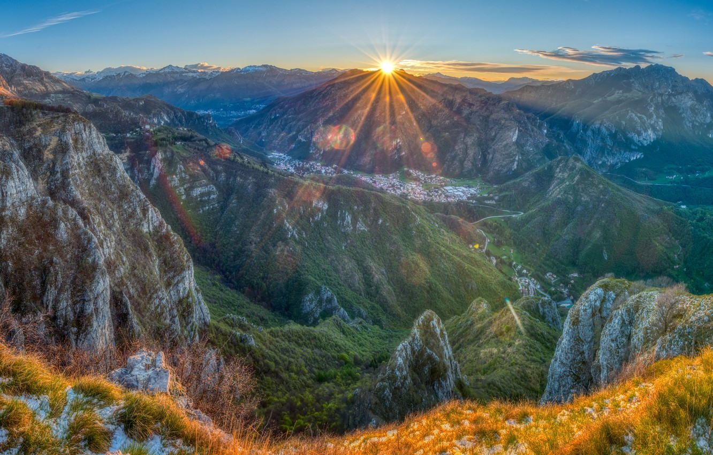 Photo wallpaper mountains, France, morning, Pyrenees