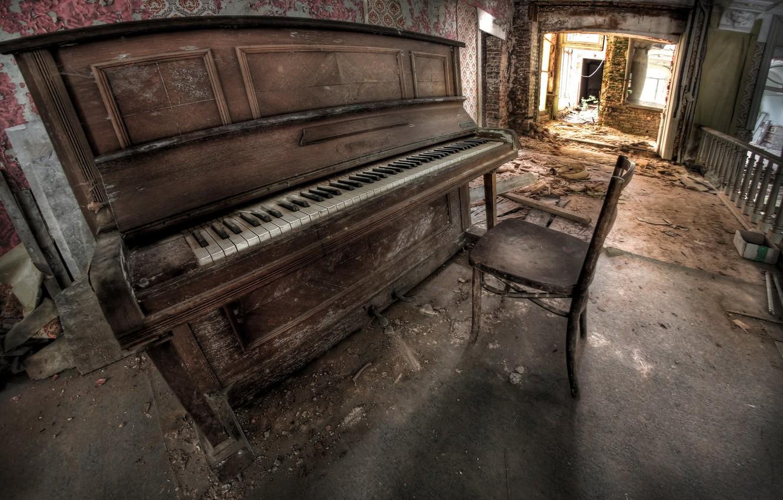 Photo wallpaper music, chair, piano