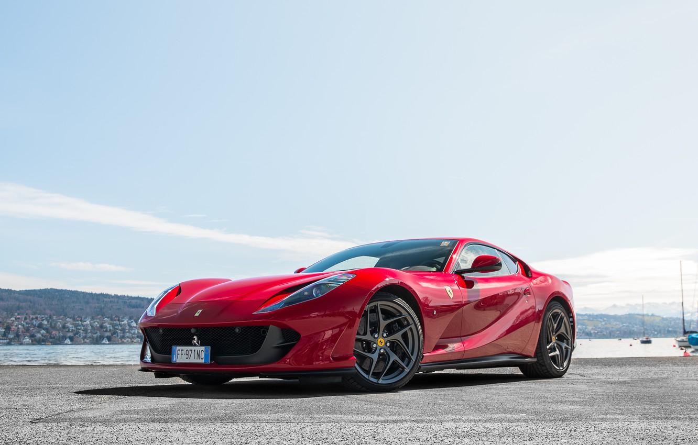 Photo wallpaper Ferrari, red, pier, Superfast, 812