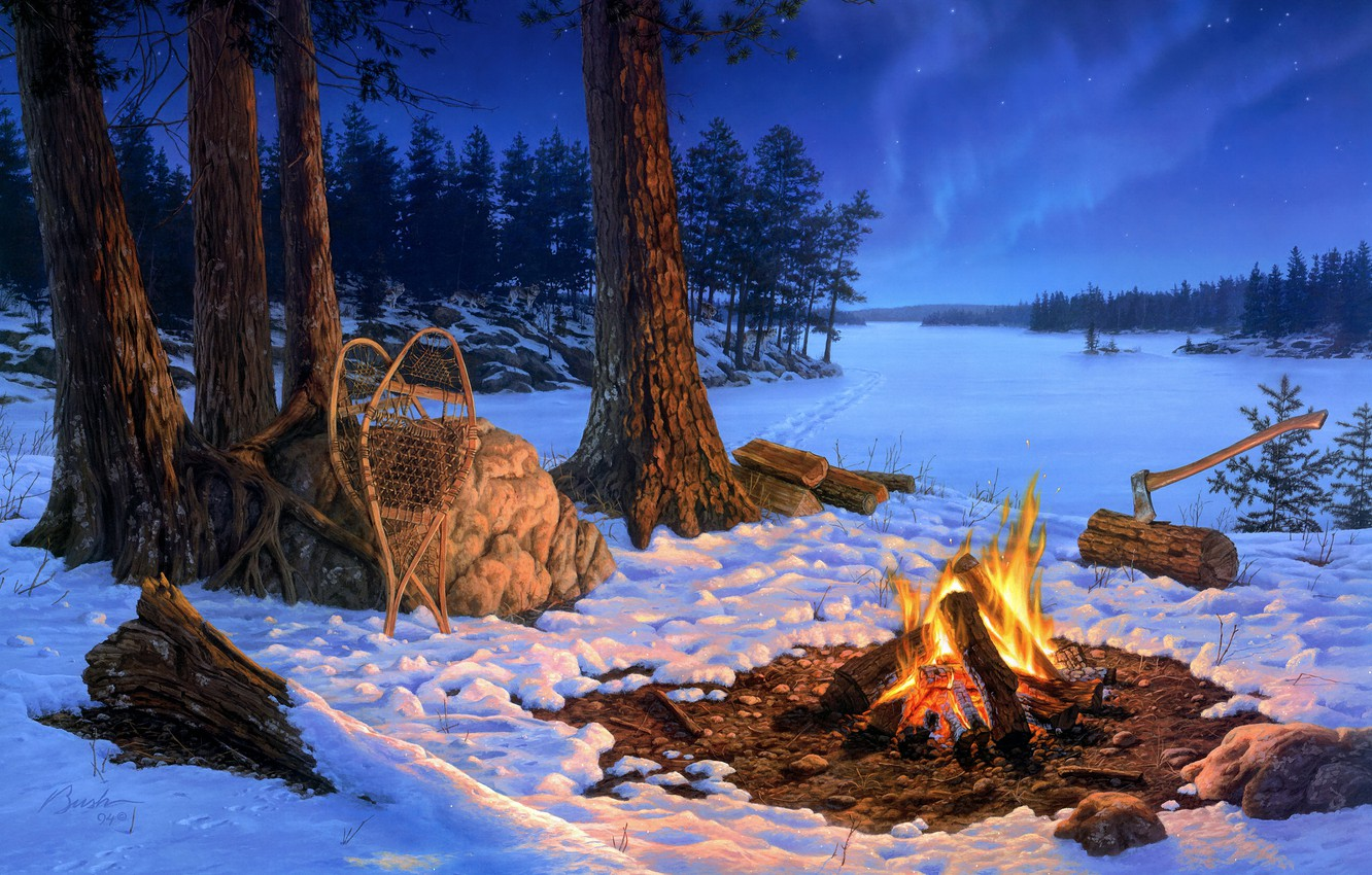 Photo wallpaper winter, forest, snow, trees, landscape, night, traces, nature, fire, flame, shore, stone, figure, winter, picture, …