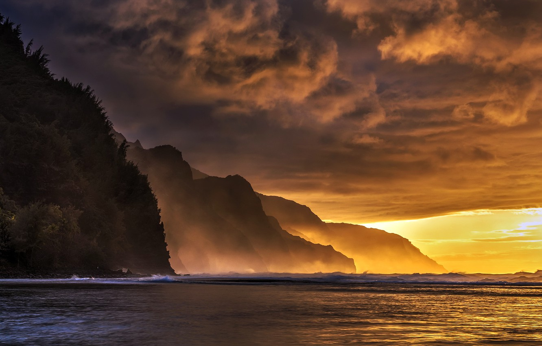 Photo wallpaper Hawaii, Kauai, napali coast, ke'e beach