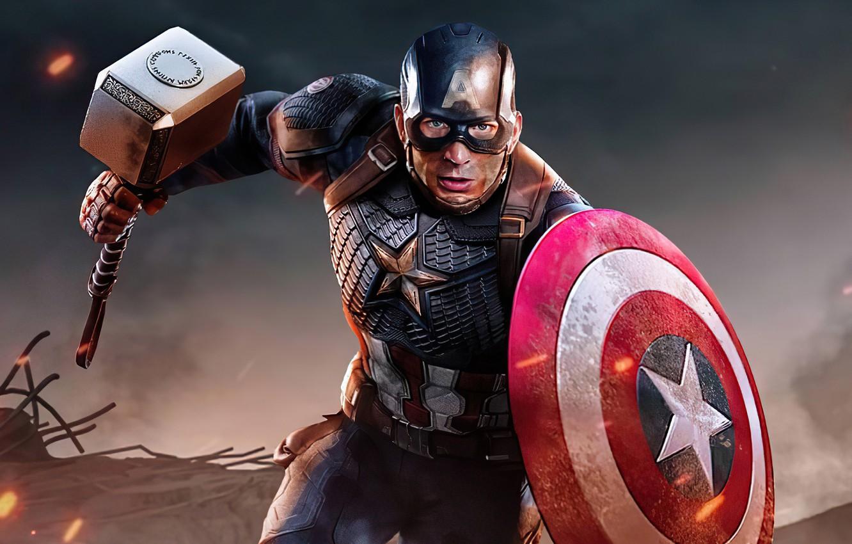 Photo wallpaper hammer, hero, costume, shield, Marvel, Captain America, Chris Evans