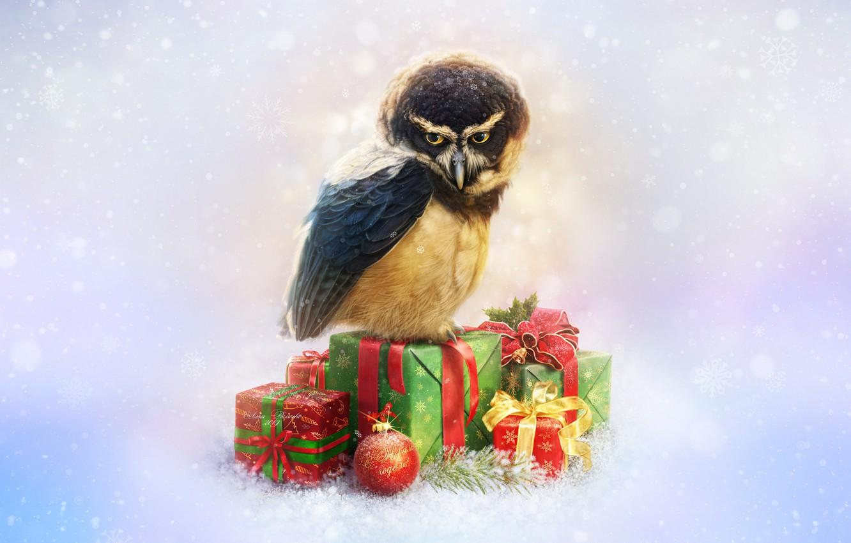 Photo wallpaper Owl, Bird, Snow, New Year, Style, Decoration, Holiday, Art, Art, Style, Snow, New Year, Owl, …